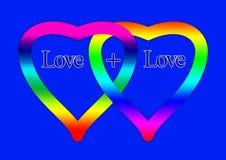 Dos corazones con amor y sujetados con un signo más Imagen de archivo libre de regalías