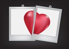Dos corazones, con el fondo del negro del marco Foto de archivo