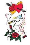 Dos corazones con la flecha Imágenes de archivo libres de regalías