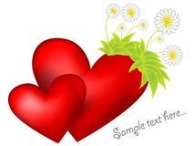 Dos corazones con las flores del resorte Foto de archivo
