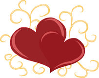 Dos corazones con los elementos adornados Foto de archivo libre de regalías