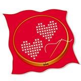 Dos corazones cruzan el bordado de la puntada Foto de archivo libre de regalías