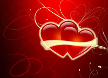Dos corazones - día de tarjetas del día de San Valentín - amor Imagen de archivo