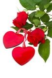 Dos corazones de cristal con las rosas Foto de archivo