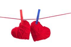 Dos corazones de la cuerda de rosca Imagen de archivo