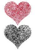 Dos corazones de la huella digital, vector Imagen de archivo