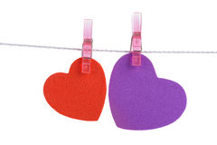 Dos corazones de las dimensiones de una variable de la espuma Fotos de archivo libres de regalías