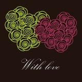 Dos corazones de las flores Foto de archivo libre de regalías