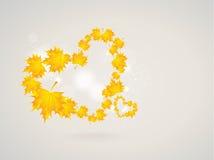 Dos corazones de las hojas de otoño Imágenes de archivo libres de regalías