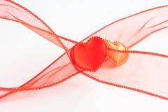 Dos corazones de los rojos Foto de archivo libre de regalías