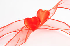 Dos corazones de los rojos Foto de archivo