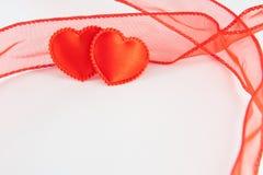 Dos corazones de los rojos Fotografía de archivo libre de regalías