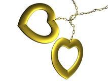 Dos corazones de oro Imagen de archivo