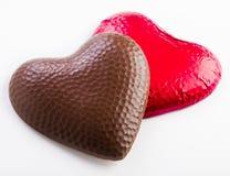 Dos corazones del chocolate Fotografía de archivo libre de regalías