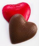Dos corazones del chocolate Imágenes de archivo libres de regalías