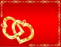 Dos corazones del oro Foto de archivo libre de regalías