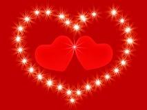 Dos corazones del rojo 3d Fotos de archivo libres de regalías