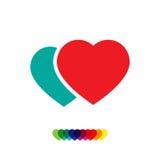 Dos corazones del vector Corazones de amantes Icono plano de dos corazones Foto de archivo