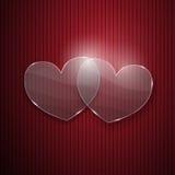 Dos corazones del vidrio Foto de archivo