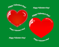 Dos corazones el día de tarjetas del día de San Valentín Foto de archivo
