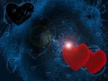 Dos corazones en azul ilustración del vector