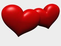 Dos corazones en el amor - aislado Foto de archivo