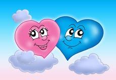 Dos corazones en el cielo Fotografía de archivo libre de regalías