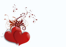 Dos corazones en el fondo blanco stock de ilustración