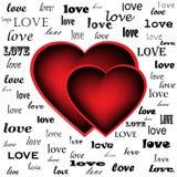 Dos corazones en el fondo de la palabra aman Foto de archivo