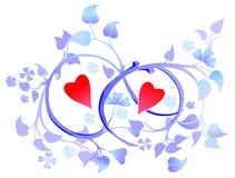 Dos corazones en la decoración floral Fotografía de archivo libre de regalías