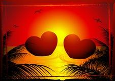 Dos corazones en la puesta del sol stock de ilustración