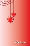 Dos corazones en una cadena Fotografía de archivo libre de regalías