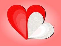 Dos corazones estilizados con el fondo rosado Foto de archivo