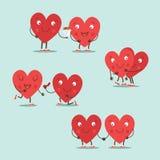 Dos corazones felices en amor Pares lindos en amor Tarjeta feliz del vector del día de la tarjeta del día de San Valentín s - vec libre illustration