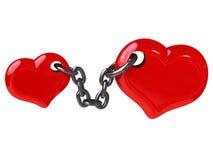 Dos corazones fijados por el encadenamiento Fotografía de archivo