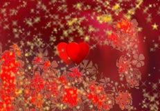 Dos corazones, flores y escamas de la nieve Fotografía de archivo libre de regalías