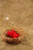 Dos corazones hechos a mano en la jerarquía Foto de archivo libre de regalías