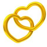 Dos corazones junto 3d del oro Fotos de archivo