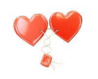 Dos corazones junto en un fondo blanco Fotografía de archivo