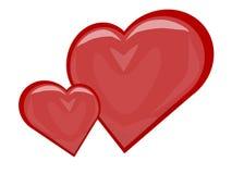 Dos corazones, la imagen del vector ilustración del vector