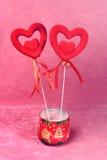 Dos corazones para el día de tarjetas del día de San Valentín Fotografía de archivo libre de regalías