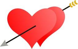 Dos corazones penetrados por una flecha Fotografía de archivo libre de regalías
