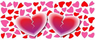 Dos corazones quebrados en el fondo de los corazones, tarjeta del amor Fotografía de archivo