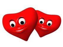 Dos corazones rojos Fotografía de archivo