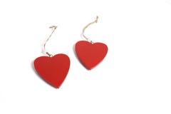Dos corazones rojos Imagenes de archivo