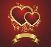 Dos corazones rojos. Foto de archivo libre de regalías