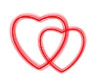 Dos corazones rojos - contornos Fotografía de archivo libre de regalías