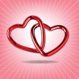 Dos corazones rojos de acero ligaron junto el illustr realista Foto de archivo