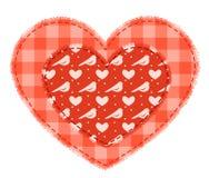 Dos corazones rojos del remiendo Foto de archivo