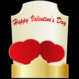 Dos corazones rojos el día de tarjeta del día de San Valentín Imágenes de archivo libres de regalías